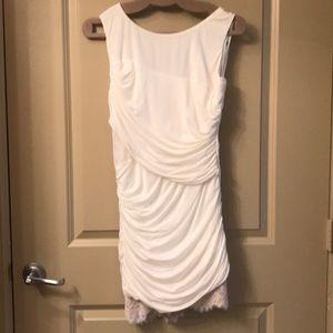 Dresses & Skirts - White Cocktail Length Dress w Gathered Waist